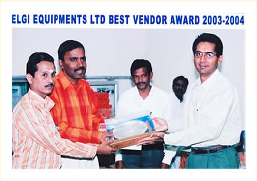 Elgi Equipments Ltd Best Vendor Award 2003-2004